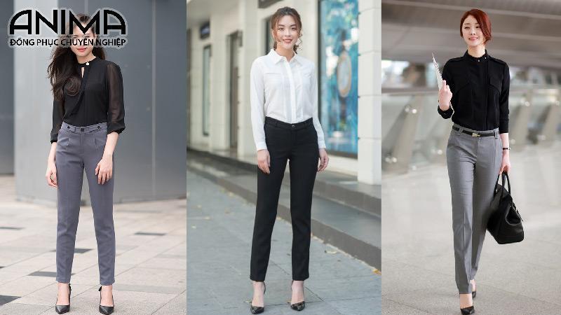 Mẫu quần âu phối với sơ mi trắng hay đen đều tôn nên dáng của các chị em văn phòng